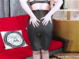sizzling stunner peels off ebony lingerie jerks in nylon garter