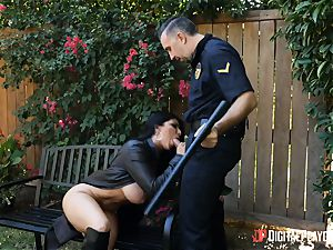 big-titted flasher Romi Rain rides dangled police officer