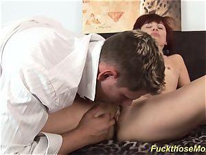 bony mom inhales a powerful manstick