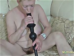 grandma enjoys 3some hard-core screw