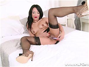 super-steamy dark-hued stunner masturbates off frolicking in nylons girdle high-heeled slippers