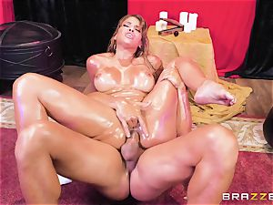 Oiley Mercedes Carrera fucked humungous time by huge man rod