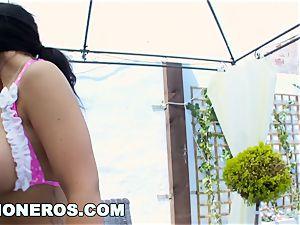 hefty bra-stuffers european dark-haired Kyra steaming penetrated gonzo