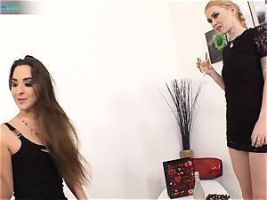supreme cutie Amirah Adara and tatted nymph Misha Cross plays with their dildos