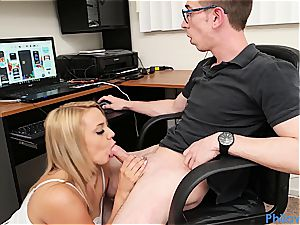 sis gives head to nerdy stepbro while he's frolicking games