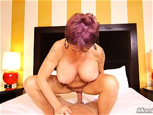big-chested Russian GILF blasts all over shaft