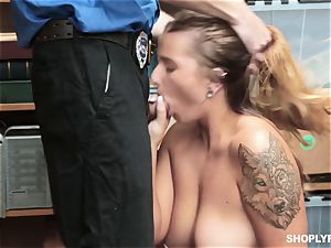Dakota Rain rides security guards fuckpole