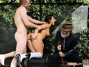 jokey situation of slit wedged daughter and her grandpa sees at bus stop - Abella Danger and Bill Bailey