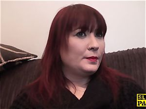 chesty brit red-haired dominated with roughsex