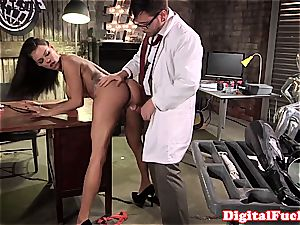 ample breast girl horny at work for a excellent fuck-stick inwards