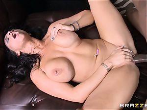 Romi Rain romps her super-fucking-hot dark-hued trainer in front of her stud