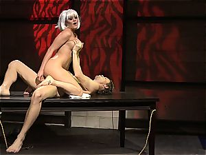 Charley pursue is a platinum haired penetrate gal