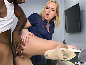 Kate England nailed by a ebony manstick