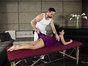 diminutive Gina Valentina gets lubricated up and groped