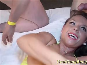 mischievous gang-bang with bigbreast stepmom