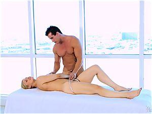 Roasting super hot blond Sarah Vandella enjoys to tit drill