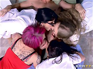 wild clinic gang fuckfest with Nicole Aniston and her friends