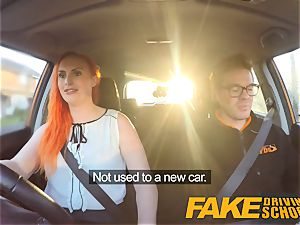 fake Driving school tatted ginger-haired craves a big pipe