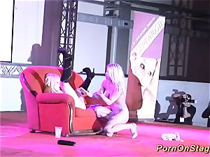 girl-on-girl fuckfest display on public stage