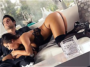 killer Eva Lovia is training her beau some manners before the soiree