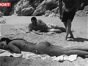 LETSDOEIT - super hot ebony teenager humped stiff At The Beach