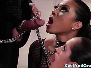 amazing Adrianna Luna and Chloe Amour make out after threesome