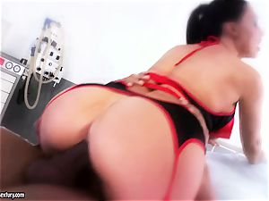 spectacular babe Aletta Ocean is eating a ebony salami like a monster noodle