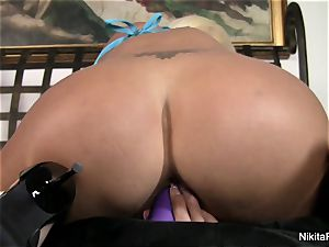 red-hot ash-blonde Nikita plays with a purple toy