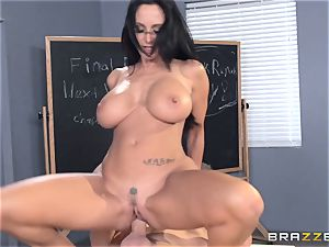 busty professor Ava Addams is pummeled by her student