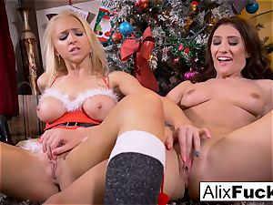 Christmas girl/girl lovemaking between two steamy nymphs